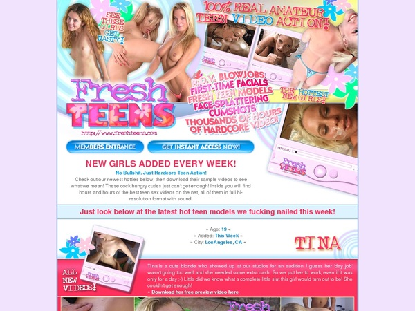 Fresh Teens Register Form