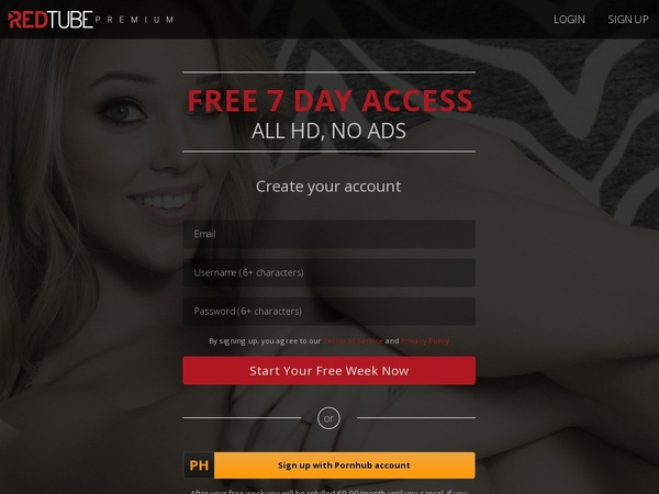 Red Tube Signup Page